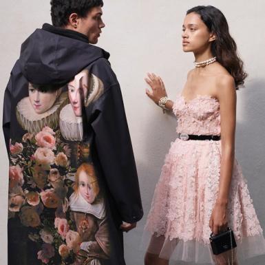 Họa tiết hoa lãng mạn quện lẫn với họa tiết da báo trong các thiết kế Giambattista Valli x H&M
