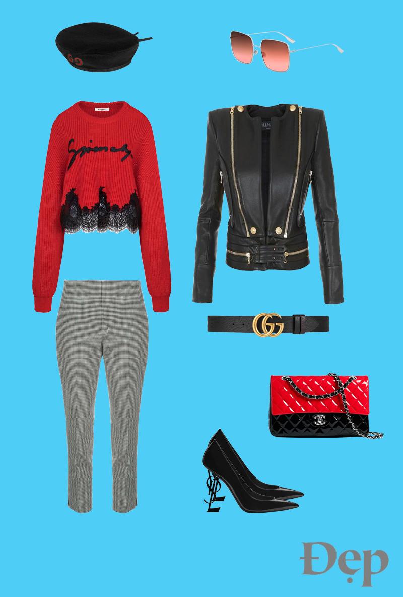 đẹp - outfit 1 - phối trang phục họa tiết houndstooth