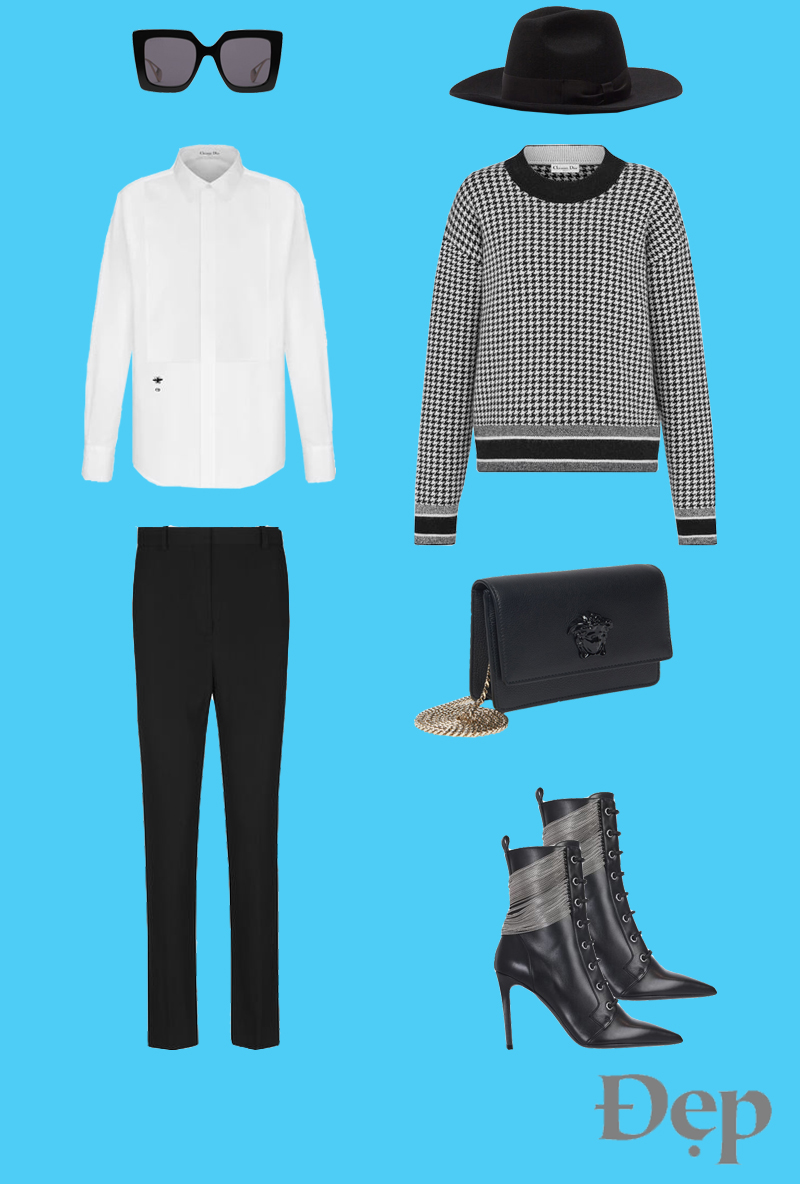 đẹp - outfit 2 - phối trang phục họa tiết houndstooth