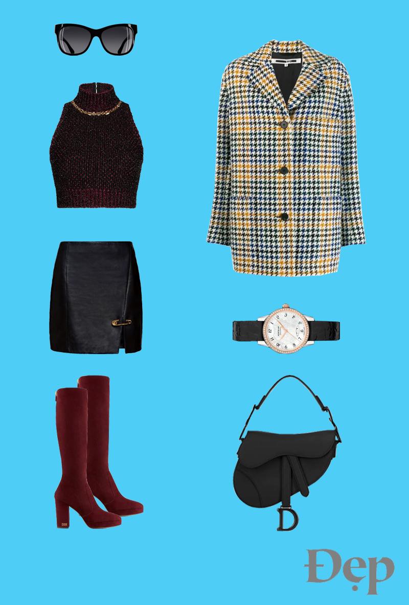 đẹp - outfit 3 - phối trang phục họa tiết houndstooth