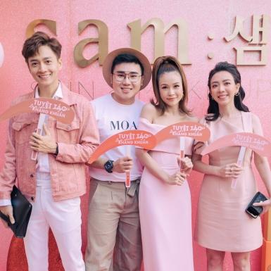 Ngô Kiến Huy, Jun Phạm, Quỳnh Anh Shyn đến chúc mừng Sam ra mắt thương hiệu mỹ phẩm mới