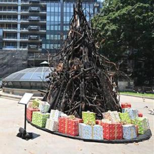 Thông điệp của cây thông Giáng sinh làm từ những cành cây bị cháy