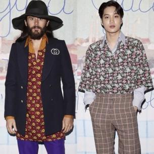 Kai (EXO) diện áo hoa, thân thiết với tài tử Jared Leto tại show Gucci Menswear Thu Đông 2020