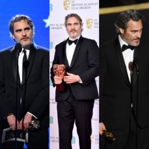 Joaquin Phoenix mặc 1 bộ tuxedo hiệu Stella McCartney lên bục nhận giải thưởng 5 lần