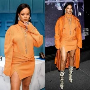 Rihanna diện nguyên cây màu cam ra mắt cửa hàng FENTY tại New York