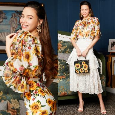 Hồ Ngọc Hà gửi lời chào tháng 8 rực rỡ với set đồ họa tiết hoa hướng dương nữ tính