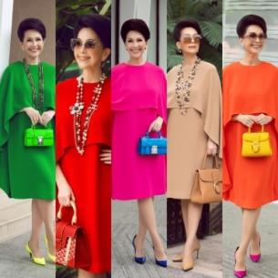 Diễn viên Diễm My diện một thiết kế đầm với 10 màu sắc nổi bật trên đường phố