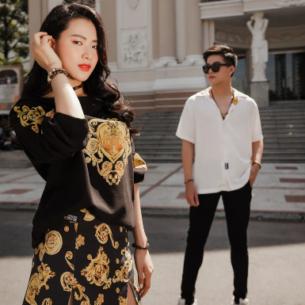 Kha Vũ và Minh Trang gợi ý cách phối đồ đôi họa tiết baroque và camo nổi bật khi xuống phố