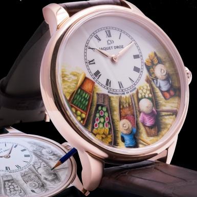 Chợ nổi miền Tây hiện lên sinh động trên mẫu đồng hồ độc bản Petite Heure Minute Floating Market của Jaquet Droz