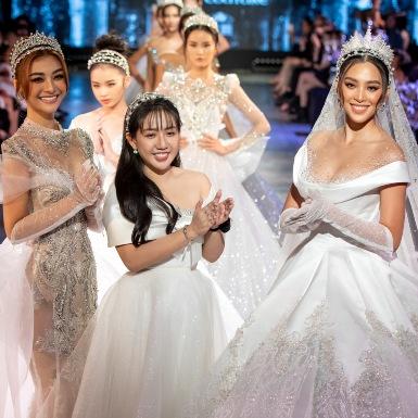 Hoa hậu Tiểu Vy và Á hậu Kiều Loan hóa công chúa yêu kiều trong các thiết kế đầm cưới của NTK Anh Thư