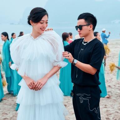 Á hậu Phương Nga chịu lạnh, diễn áo dài cho NTK Hà Duy tại Quảng Ninh