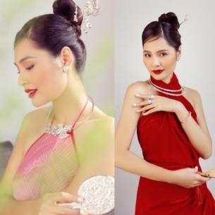 Hoa hậu Hương Giang khoe nhan sắc trẻ trung, dịu dàng trong trang phục truyền thống cách điệu