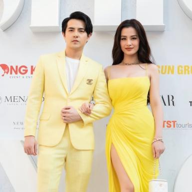 """""""Cặp đôi vàng"""" Đông Nhi – Ông Cao Thắng cùng các nàng hậu đình đám đổ bộ thảm đỏ ủng hộ NTK Lê Thanh Hòa"""