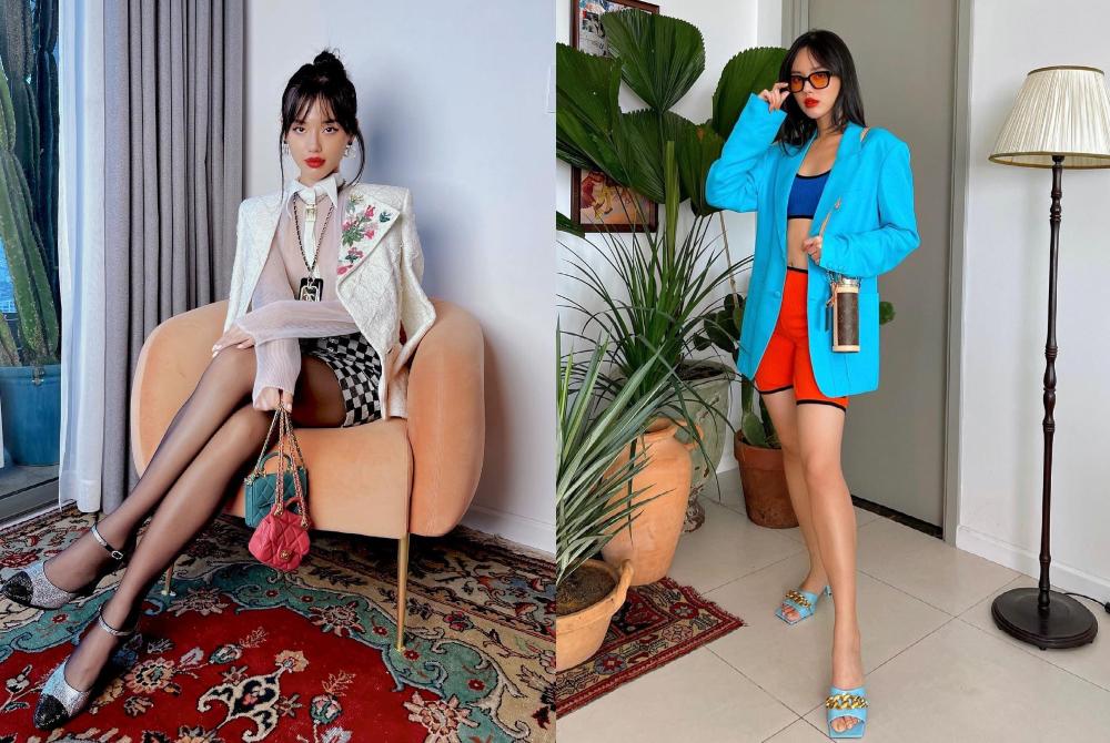 """Chỉ với những chậu cây cảnh trong nhà cùng vài vật dụng trang trí nội thất đơn giản, fashionista Khánh Linh biến căn phòng thành sàn diễn đường phố cực hút mắt. Theo đó, """"cô em Trendy"""" cũng có thể thỏa sức biến hóa nhiều phong cách cho các khung hình thời trang tại nhà lung linh như tại studio."""