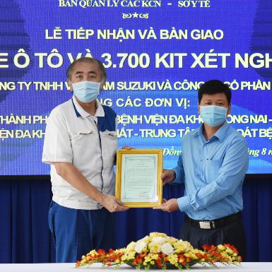 4 chiếc xe tải được trao tặng đến sở y tế Đồng Nai để vượt qua khủng hoảng đại dịch