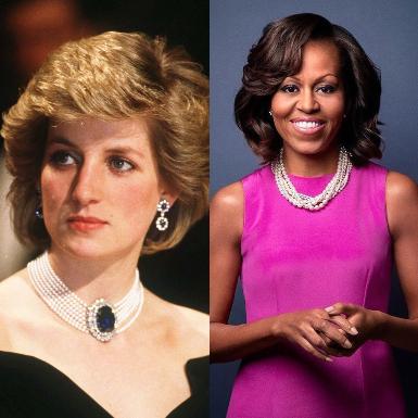 Giải mã thông điệp đằng sau bộ nữ trang ngọc trai của Michelle Obama, Kamala Harris và Công nương Diana